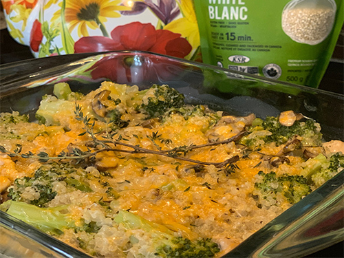 Chicken Broccoli Cheddar Quinoa Casserole