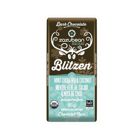 Zazubean Blitzen - Mint Cocoa Nib & Coconut Chocolate Bar