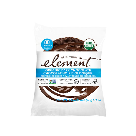Element Snacks Dark Chocolate Dipped Rice Cakes